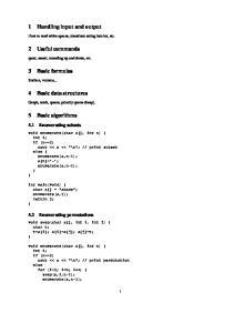 1 Handling input and output. 2 Useful commands. 3 Basic formulas. 4 Basic data structures. 5 Basic algorithms. 5.1 Enumerating subsets