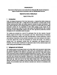 1 Introduction. 2 Background and Rationale. Regional Food Safety Training Report. Kigali, 8-10 May, 2012