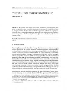 1. Introduction. Key words: foreign ownership, emerging markets, firm value