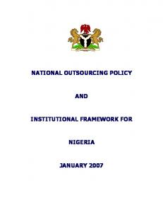 1. Introduction The Case for a National Outsourcing Program for Nigeria The National Outsourcing Policy Direction of Policy 6