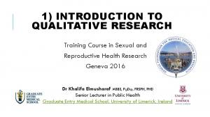1) INTRODUCTION TO QUALITATIVE RESEARCH
