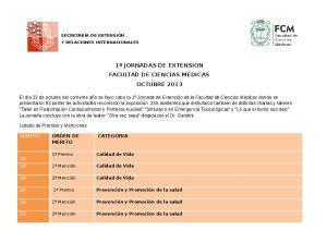 1º JORNADAS DE EXTENSIÓN FACULTAD DE CIENCIAS MÉDICAS OCTUBRE 2013