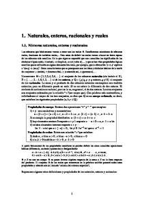 1. Naturales, enteros, racionales y reales