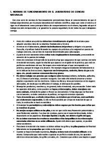 1. NORMAS DE FUNCIONAMIENTO EN EL LABORATORIO DE CIENCIAS NATURALES