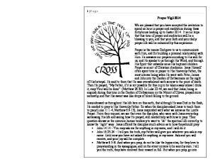 1 P age. Prayer Vigil 2014