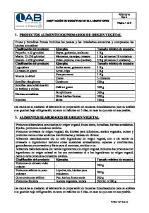 1. PRODUCTOS ALIMENTICIOS PRIMARIOS DE ORIGEN VEGETAL