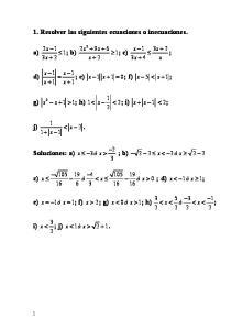 1. Resolver las siguientes ecuaciones o inecuaciones