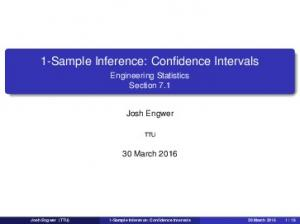 1-Sample Inference: Confidence Intervals