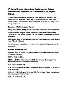 1 st Annual Cyprus International Conference on Autism Treatment and Research: November 2016, Paphos, Cyprus