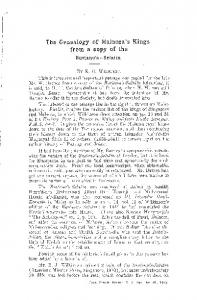 1 The Genealogy of Malacca's Kings