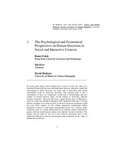 1. The Psychological and Economical Perspectives on Human Decisions in Social and Interactive Contexts