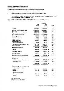 1 UNAUDITED RESULTS FOR THE YEAR ENDED 31 DECEMBER 2002