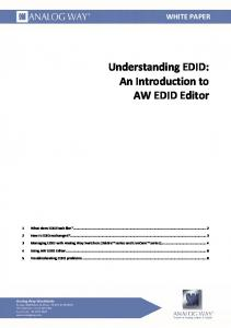 1 WP: Understanding EDID: An introduction to AW EDID Editor