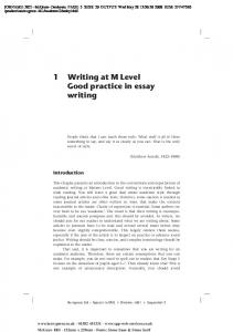 1 Writing at M Level Good practice in essay writing