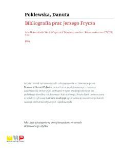 10 Bibliografia prac Jerzego Frycza