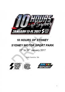 10 HOURS OF SYDNEY SYDNEY MOTOR SPORT PARK