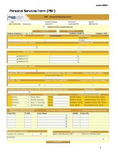 10. Personal Services Form (PSF)