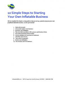 10 Simple Steps to Starting Your Own Inflatable Business