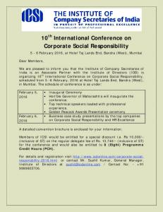 10 th International Conference on Corporate Social Responsibility