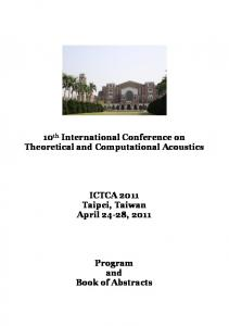 10 th International Conference on Theoretical and Computational Acoustics