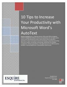 10 Tips to Increase Your Productivity with Microsoft Word s AutoText