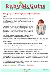 10 Top Tips to Boosting Your Self-Confidence