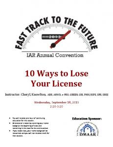 10 Ways to Lose Your License