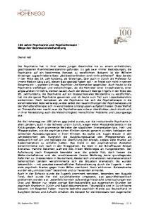 100 Jahre Psychiatrie und Psychotherapie Wege der Depressionsbehandlung. Daniel Hell