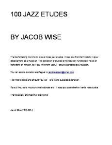 100 JAZZ ETUDES BY JACOB WISE