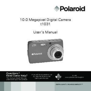 10.0 Megapixel Digital Camera t1031. User s Manual
