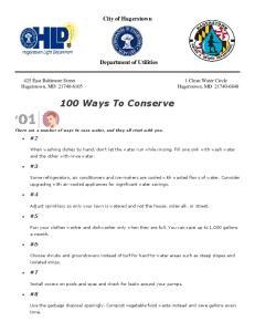 100 Ways To Conserve