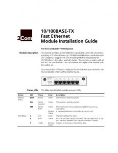 100BASE-TX Fast Ethernet Module Installation Guide