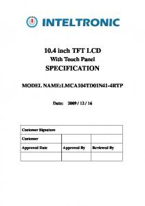 10.4 inch TFT LCD SPECIFICATION