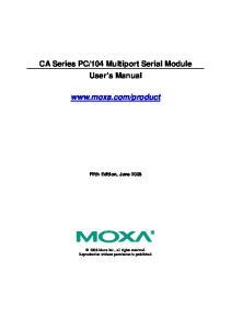 104 Multiport Serial Module User s Manual