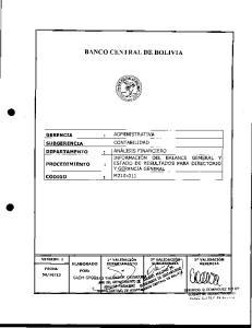104i CONTABILIDAD INFORMACION DEL BALANCE GENERAL Y ESTADO DE RESULTADOS PARA DIRECTORIO Y GERENCIA GENERAL GERENCIA : ADMINISTRATIVA SUBGERENCIA