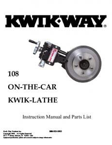 108 ON-THE-CAR KWIK-LATHE