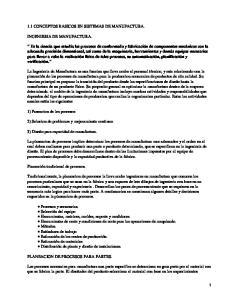 1.1 CONCEPTOS BASICOS EN SISTEMAS DE MANUFACTURA. INGENIERIA DE MANUFACTURA