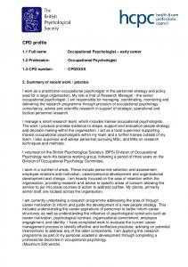 1.1 Full name Occupational Psychologist early career