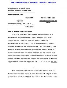 11 Page 1 of 22. Plaintiff, Defendants. This is a copyright infringement action brought by a