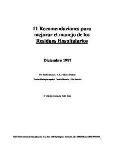 11 Recomendaciones para mejorar el manejo de los Residuos Hospitalarios