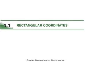 1.1 RECTANGULAR COORDINATES. Copyright Cengage Learning. All rights reserved