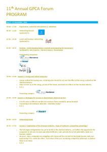 11 th Annual GPCA Forum PROGRAM