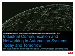 11 th IEEE World Conference on Factory Communication Systems 2015