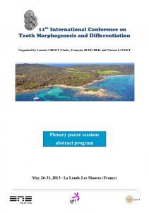 11 th International Conference on Tooth Morphogenesis and Differentiation