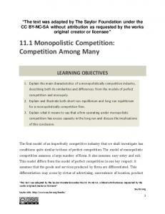 11.1 Monopolistic Competition: Competition Among Many