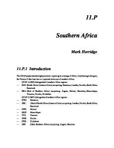 11.P. Southern Africa. Mark Horridge. 11.P.1 Introduction