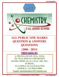 +12 ALL PUBLIC ONE MARKS QUESTION & ANSWERS QUESTIONS ( ) PREPARED BY