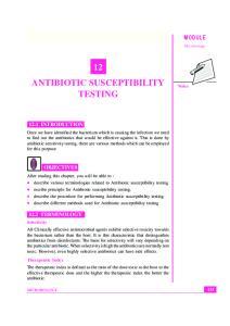 12 ANTIBIOTIC SUSCEPTIBILITY TESTING