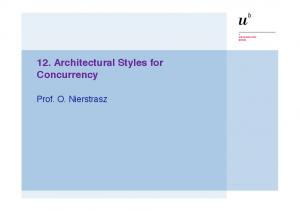 12. Architectural Styles for Concurrency. Prof. O. Nierstrasz