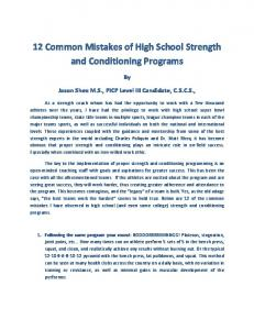 12 Common Mistakes of High School Strength and Conditioning Programs